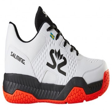 Salming Hawk Court White / Black / New FlameRed