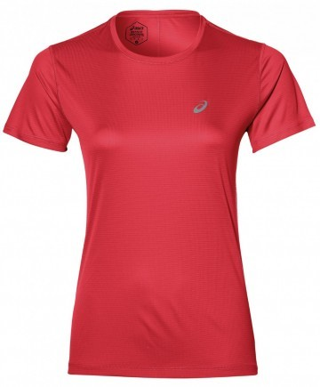 Asics Silver Short Sleeve Top Red Alert