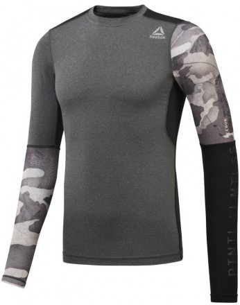 Reebok Activchill Graphic Compression LS Tee Black Grey