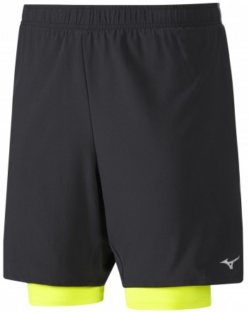 Mizuno Alpha 7.5 2in1 Short Black Yellow