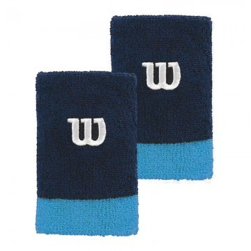 Wilson Extra Wide Wristband Peacoat / Coastal Blue / White